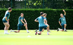 SOUTHAMPTON, ENGLAND - JULY 18: James Ward-Prowse(R) warms up with team mates during a Southampton FC training session at the Staplewood Campus on July 18, 2020 in Southampton, England. (Photo by Matt Watson/Southampton FC via Getty Images)