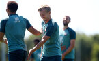 SOUTHAMPTON, ENGLAND - JULY 22: James Ward-Prowse(R) and Ché Adams during a Southampton FC training session at the Staplewood Campus on July 22, 2020 in Southampton, England. (Photo by Matt Watson/Southampton FC via Getty Images)