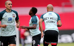 SOUTHAMPTON, ENGLAND - JULY 26: southamton warm up ahead of the Premier League match between Southampton FC and Sheffield United at St Mary's Stadium on April 17, 2020 in Southampton, United Kingdom. (Photo by Chris Moorhouse/Southampton FC via Getty Images)