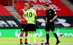 SOUTHAMPTON, ENGLAND - JULY 26: James Ward-Prowse (L) of Southampton and Billy Sharp (R) of Sheffield ahead of during the Premier League match between Southampton FC and Sheffield United at St Mary's Stadium on April 17, 2020 in Southampton, United Kingdom. (Photo by Matt Watson/Southampton FC via Getty Images)