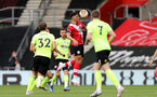 SOUTHAMPTON, ENGLAND - JULY 26: Ché Adams (center) of Southampton during the Premier League match between Southampton FC and Sheffield United at St Mary's Stadium on April 17, 2020 in Southampton, United Kingdom. (Photo by Chris Moorhouse/Southampton FC via Getty Images)