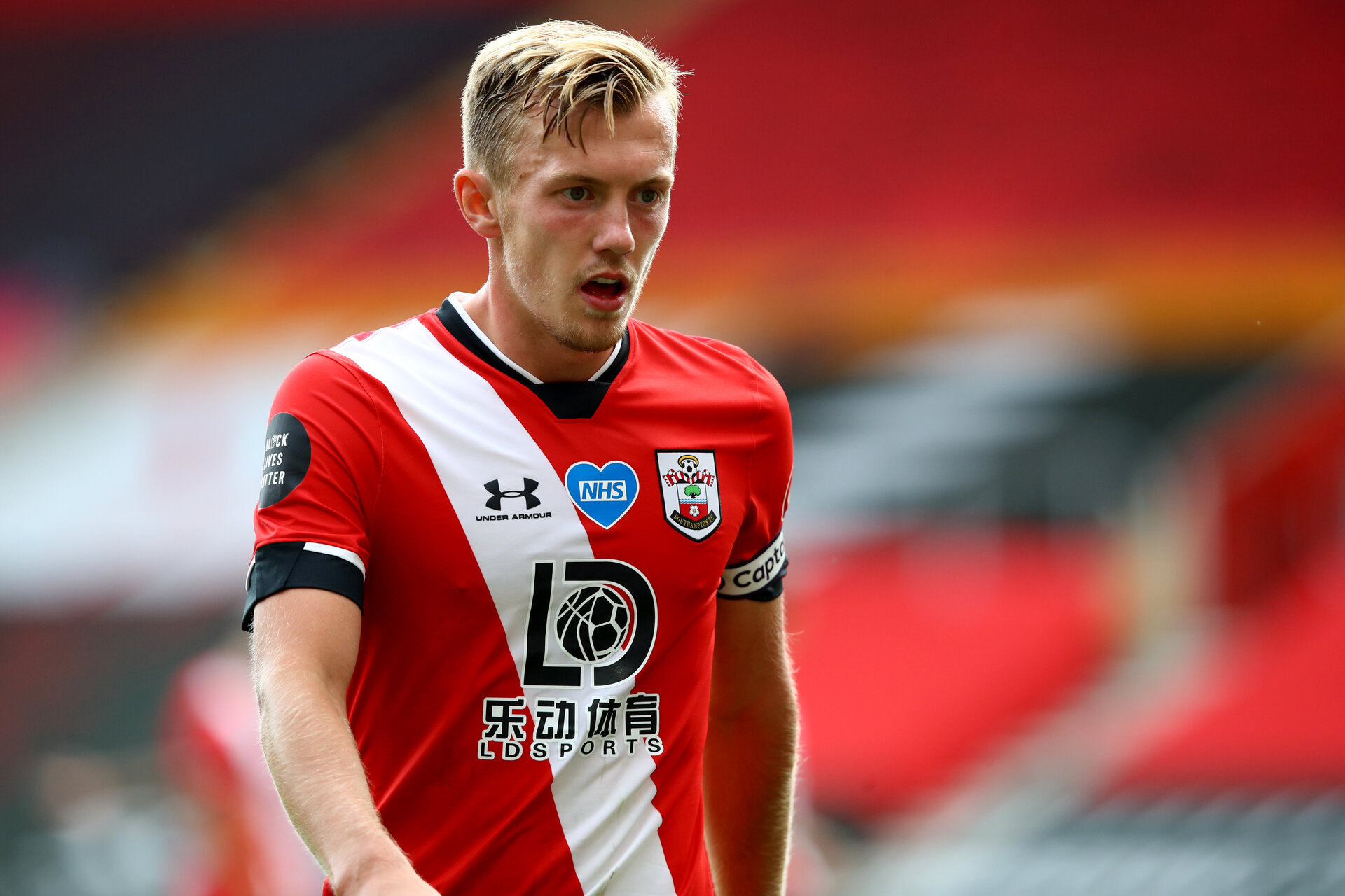 SOUTHAMPTON, ENGLAND - JULY 26: James Ward-Prowse of Southampton during the Premier League match between Southampton FC and Sheffield United at St Mary's Stadium on April 17, 2020 in Southampton, United Kingdom. (Photo by Matt Watson/Southampton FC via Getty Images)