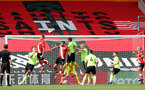 SOUTHAMPTON, ENGLAND - JULY 26: Danny Ings (L) of Southampton with header on goal during the Premier League match between Southampton FC and Sheffield United at St Mary's Stadium on April 17, 2020 in Southampton, United Kingdom. (Photo by Chris Moorhouse/Southampton FC via Getty Images)