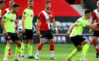 SOUTHAMPTON, ENGLAND - JULY 26: Shane Long (center) of Southampton during the Premier League match between Southampton FC and Sheffield United at St Mary's Stadium on April 17, 2020 in Southampton, United Kingdom. (Photo by Matt Watson/Southampton FC via Getty Images)
