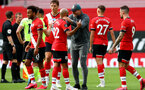 SOUTHAMPTON, ENGLAND - JULY 26: Nathan Redmond and Ralph Hasenhuttl of Southampton during the Premier League match between Southampton FC and Sheffield United at St Mary's Stadium on April 17, 2020 in Southampton, United Kingdom. (Photo by Matt Watson/Southampton FC via Getty Images)