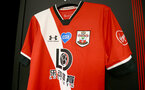 SOUTHAMPTON, ENGLAND - JULY 26: Southampton FC's new kit for 2020/21 on display in the dressing room, ahead of the Premier League match between Southampton FC and Sheffield United at St Mary's Stadium on July 26, 2020 in Southampton, United Kingdom. (Photo by Matt Watson/Southampton FC via Getty Images)