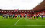 SOUTHAMPTON, ENGLAND - JULY 26: Southampton players after the Premier League match between Southampton FC and Sheffield United at St Mary's Stadium on July 26, 2020 in Southampton, United Kingdom. (Photo by Matt Watson/Southampton FC via Getty Images)
