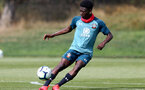SOUTHAMPTON, ENGLAND - August 13: Kazeem Olaigbe during a Southampton U18 training session at Staplewood Training ground on August 13, 2020 in Southampton, England. (Photo by Isabelle Field/Southampton FC via Getty Images)