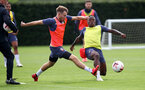 SOUTHAMPTON, ENGLAND - AUGUST 25: Jake Vokins(L) and Michael Obafemi during a Southampton FC training session at the Staplewood Campus on August 25, 2020 in Southampton, England. (Photo by Matt Watson/Southampton FC via Getty Images)