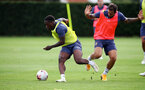 SOUTHAMPTON, ENGLAND - AUGUST 25: Michael Obafemi(L) and Danny Ings during a Southampton FC training session at the Staplewood Campus on August 25, 2020 in Southampton, England. (Photo by Matt Watson/Southampton FC via Getty Images)