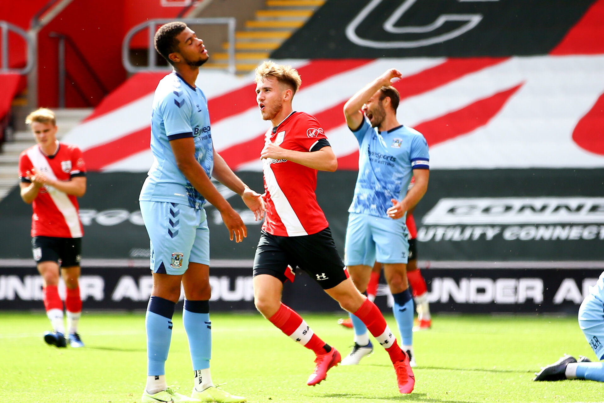 SOUTHAMPTON, ENGLAND - SEPTEMBER 1: Jake Vokins goal reaction during a pre-season friendly match between Southampton U23 and Coventry City at St Mary's Stadium on September 1, 2020 in Southampton, United Kingdom. (Photo by Isabelle Field/Southampton FC)