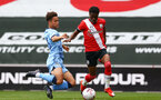 SOUTHAMPTON, ENGLAND - SEPTEMBER 1: Nathan Tella (R) of Southampton during a pre-season friendly match between Southampton U23 and Coventry City at St Mary's Stadium on September 1, 2020 in Southampton, United Kingdom. (Photo by Isabelle Field/Southampton FC)