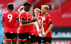 SOUTHAMPTON, ENGLAND - SEPTEMBER 1: Kgaogelo Chauke (L) and Josh Sims (L) of Southampton during a pre-season friendly match between Southampton U23 and Coventry City at St Mary's Stadium on September 1, 2020 in Southampton, United Kingdom. (Photo by Isabelle Field/Southampton FC)