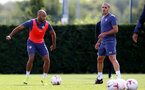 SOUTHAMPTON, ENGLAND - SEPTEMBER 02: Nathan Redmond(L) and Oriol Romeu during a Southampton FC training session at the Staplewood Campus on September 02, 2020 in Southampton, England. (Photo by Matt Watson/Southampton FC via Getty Images)