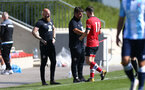 SOUTHAMPTON, ENGLAND - SEPTEMBER 05: Ryan Flood(L), David Horseman and Will Ferry (R) during a Southampton FC U23 pre season friendly against Working FC at Staplewood Campus on September 05, 2020 in Southampton, England. (Photo by Isabelle Field/Southampton FC)