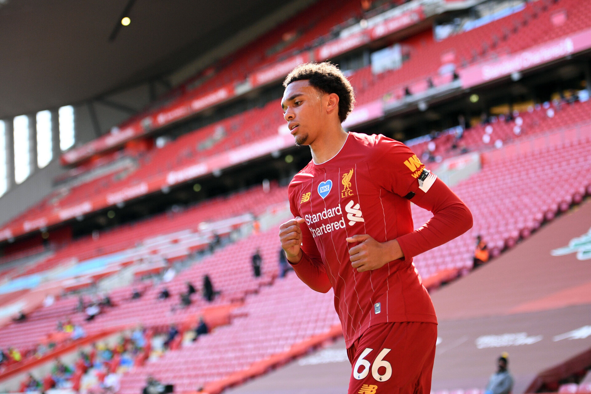 LIVERPOOL, ENGLAND - JULY 11: Trent Alexander-Arnold of Liverpool looks on during the Premier League match between Liverpool FC and Burnley FC at Anfield on July 11, 2020 in Liverpool, England. Football Stadiums around Europe remain empty due to the Coronavirus Pandemic as Government social distancing laws prohibit fans inside venues resulting in all fixtures being played behind closed doors. (Photo by Oli Scarff/Pool via Getty Images)