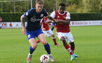 ST ALBANS, ENGLAND - SEPTEMBER 11: Callum Slattery(L) of Southamptonl during the Premier League 2 match between Arsenal U23 and Southampton U23 at London Colney on September 11, 2020 in St Albans, England. (Photo by David Price/Arsenal FC via Getty Images)