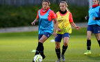 LONDON, ENGLAND - SEPTEMBER 10: Kirsty Whitton (L) and Rachel Woods (R) during women's training session Staplewood Training Ground on September 10, 2020 in Southampton, United Kingdom. (Photo by Isabelle Field/Southampton FC via Getty Images)