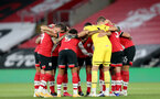 SOUTHAMPTON, ENGLAND - SEPTEMBER 16: southampton huddle ahead of the second round of the Carabao Cup match between Southampton FC and Brentford FC at St. Mary's Stadium on September 16, 2020 in Southampton, England. (Photo by Matt Watson/Southampton FC via Getty Images)
