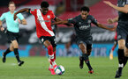 SOUTHAMPTON, ENGLAND - SEPTEMBER 16: Nathan Tella (L) of Southampton during the second round of the Carabao Cup match between Southampton FC and Brentford FC at St. Mary's Stadium on September 16, 2020 in Southampton, England. (Photo by Matt Watson/Southampton FC via Getty Images)