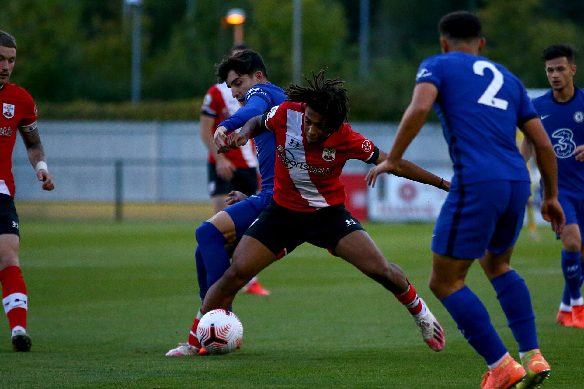 SOUTHAMPTON, ENGLAND - SEPTEMBER 18: Caleb Watts of Southampton during the Premier League 2 match between Southampton FC B Team and Chelsea FC at Snows Stadium on September 18, 2020 in Southampton, England. (Photo by Isabelle Field/Southampton FC via Getty Images)