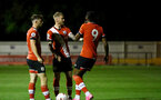 SOUTHAMPTON, ENGLAND - SEPTEMBER 18: Will Ferry (L), Callum Slattery and Dan N'Lundulu (R) of Southampton during the Premier League 2 match between Southampton FC B Team and Chelsea FC at Snows Stadium on September 18, 2020 in Southampton, England. (Photo by Isabelle Field/Southampton FC via Getty Images)