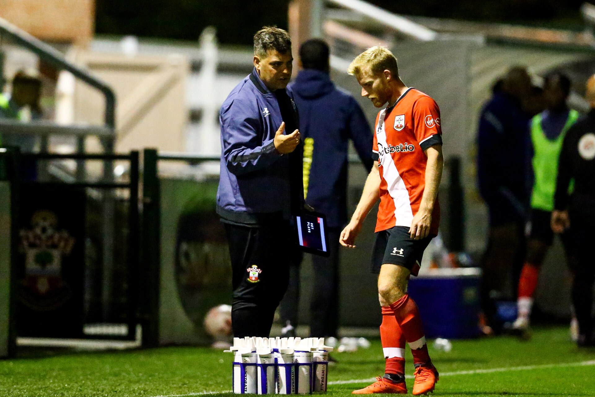 SOUTHAMPTON, ENGLAND - SEPTEMBER 18: David Horseman (L) and Josh Sims (R) of Southampton during the Premier League 2 match between Southampton FC B Team and Chelsea FC at Snows Stadium on September 18, 2020 in Southampton, England. (Photo by Isabelle Field/Southampton FC via Getty Images)