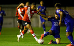 SOUTHAMPTON, ENGLAND - SEPTEMBER 18: Enzo Robise (L) of Southampton during the Premier League 2 match between Southampton FC B Team and Chelsea FC at Snows Stadium on September 18, 2020 in Southampton, England. (Photo by Isabelle Field/Southampton FC via Getty Images)