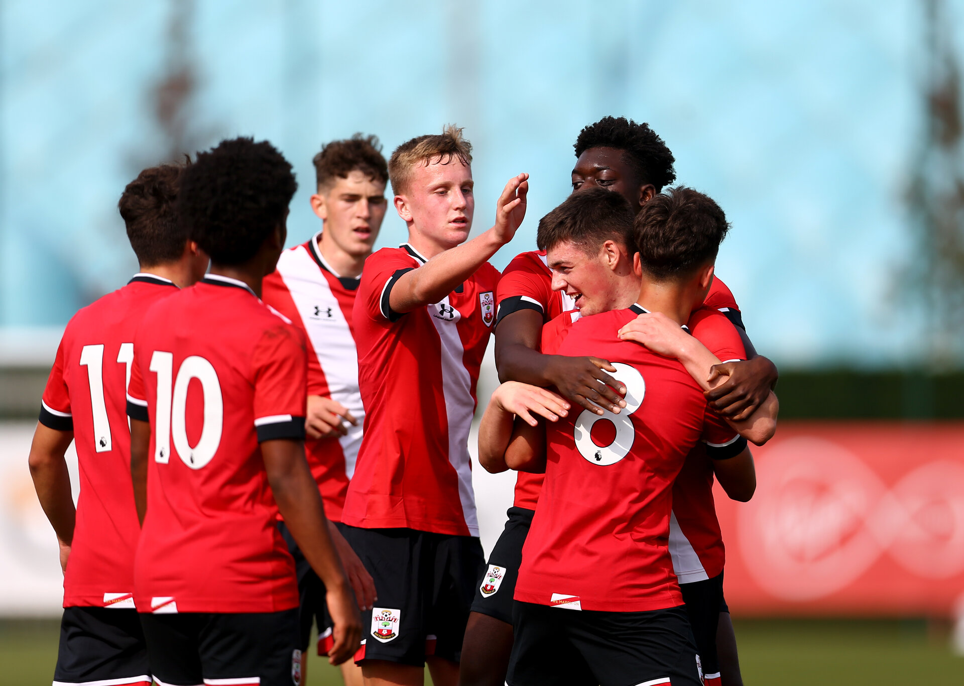 SOUTHAMPTON, ENGLAND - SEPTEMBER 19: southampton players celebrate Goran Babic goal during the Premier League U18 match between Southampton FC U18 and Crystal Palace FC at Staplewood Training Ground on September 19, 2020 in Southampton, England. (Photo by Isabelle Field/Southampton FC via Getty Images)