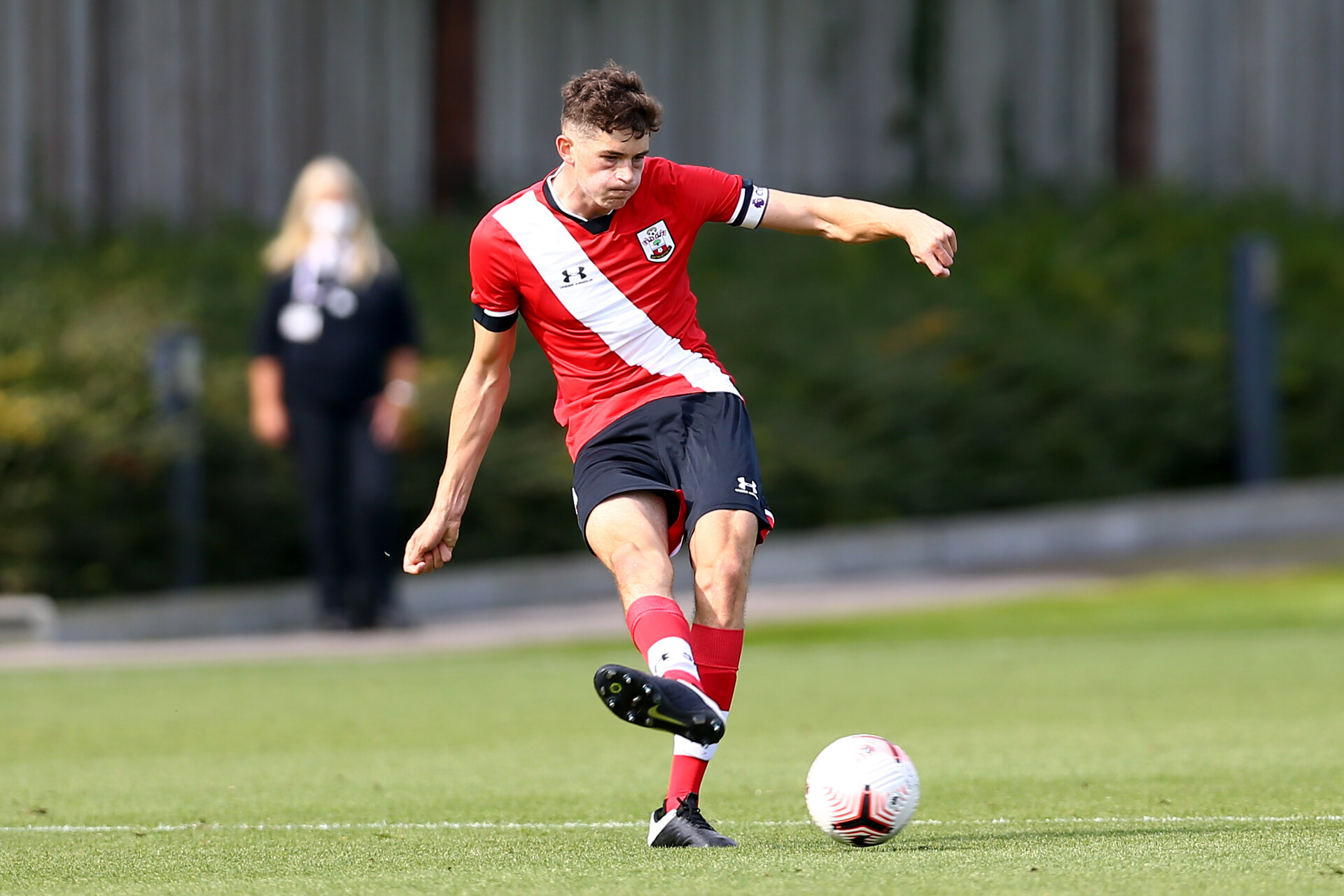 SOUTHAMPTON, ENGLAND - SEPTEMBER 19: Will Tizzard of Southampton during the Premier League U18 match between Southampton FC U18 and Crystal Palace FC at Staplewood Training Ground on September 19, 2020 in Southampton, England. (Photo by Isabelle Field/Southampton FC via Getty Images)