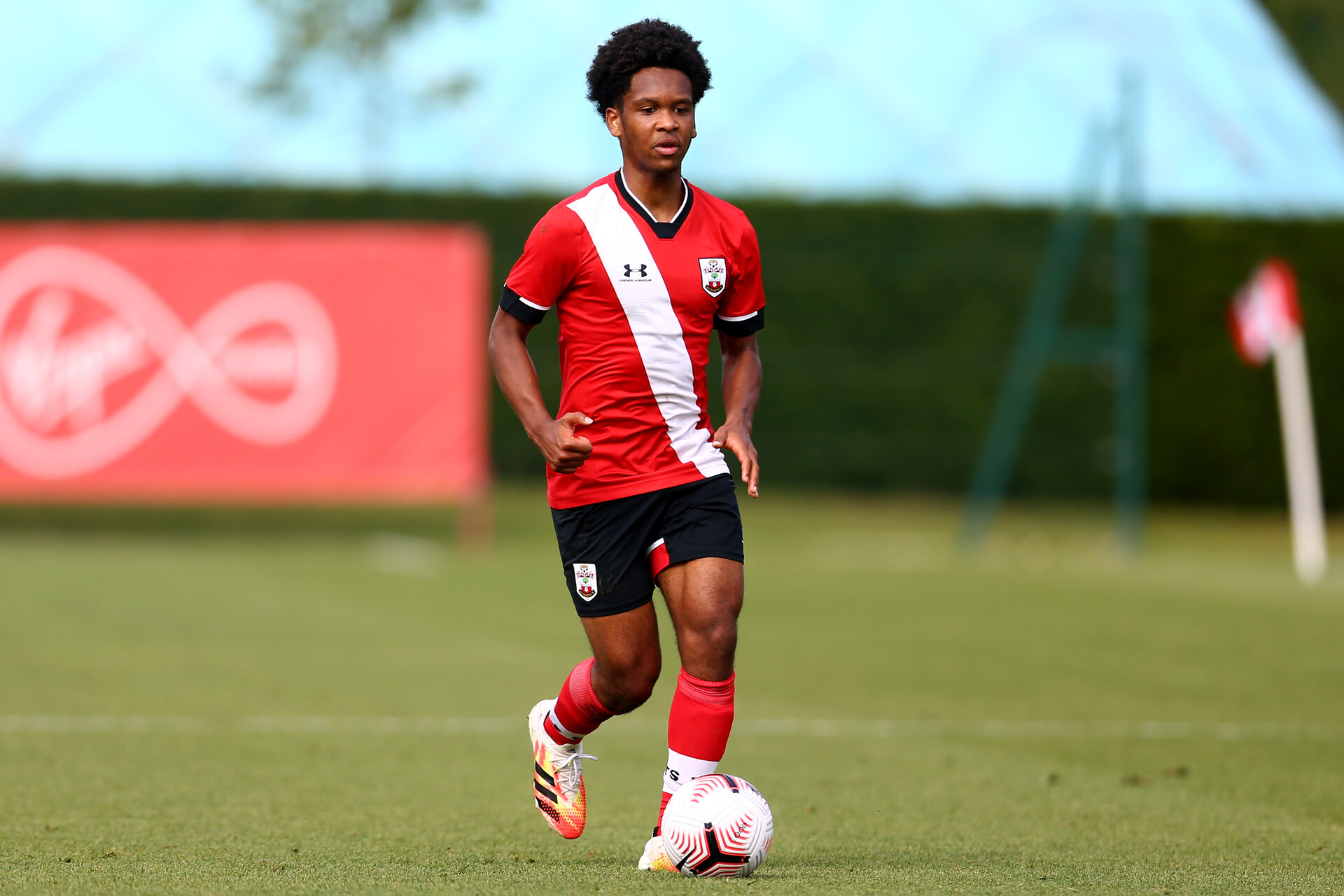 SOUTHAMPTON, ENGLAND - SEPTEMBER 19: Diamond Edwards of Southampton during the Premier League U18 match between Southampton FC U18 and Crystal Palace FC at Staplewood Training Ground on September 19, 2020 in Southampton, England. (Photo by Isabelle Field/Southampton FC via Getty Images)