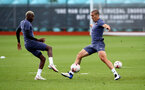 SOUTHAMPTON, ENGLAND - SEPTEMBER 24: Moussa Djenepo(L) and Oriol Romeu during a Southampton FC training session at the Staplewood Campus on September 24, 2020 in Southampton, England. (Photo by Matt Watson/Southampton FC via Getty Images)