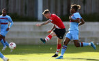 SOUTHAMPTON, ENGLAND - SEPTEMBER 26: Callum Slattery (L) of Southampton and Oladapo Afolayan (R) of West Ham during Premier League 2 Match between Southampton B Team and West Ham United at Staplewood Training Ground on September 26, 2020 in Southampton, England. (Photo by Isabelle Field/Southampton FC via Getty Images)