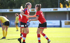 Southampton, ENGLAND - SEPTEMBER 27: Ella Pusey (L) congratulates Alisha Ware (R) on her goal during the FAWNL match between Southampton Women and Buckland Athletic at Snows Stadium on September 27, 2020 in Southampton, United Kingdom (Photo by Isabelle Field/Southampton FC via Getty Images)
