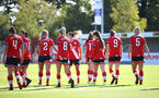 Southampton, ENGLAND - SEPTEMBER 27: Southampton players celebrate opening goal during the FAWNL match between Southampton Women and Buckland Athletic at Snows Stadium on September 27, 2020 in Southampton, United Kingdom (Photo by Isabelle Field/Southampton FC via Getty Images)