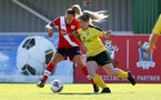 Southampton, ENGLAND - SEPTEMBER 27: Shelly Provan (L) of Southampton during the FAWNL match between Southampton Women and Buckland Athletic at Snows Stadium on September 27, 2020 in Southampton, United Kingdom (Photo by Isabelle Field/Southampton FC via Getty Images)