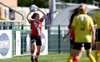 Southampton, ENGLAND - SEPTEMBER 27: Molly Mott (L) of Southampton during the FAWNL match between Southampton Women and Buckland Athletic at Snows Stadium on September 27, 2020 in Southampton, United Kingdom (Photo by Isabelle Field/Southampton FC via Getty Images)