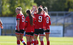 Southampton, ENGLAND - SEPTEMBER 27: southampton players congratulate Ella Pusey on her second goal during the FAWNL match between Southampton Women and Buckland Athletic at Snows Stadium on September 27, 2020 in Southampton, United Kingdom (Photo by Isabelle Field/Southampton FC via Getty Images)