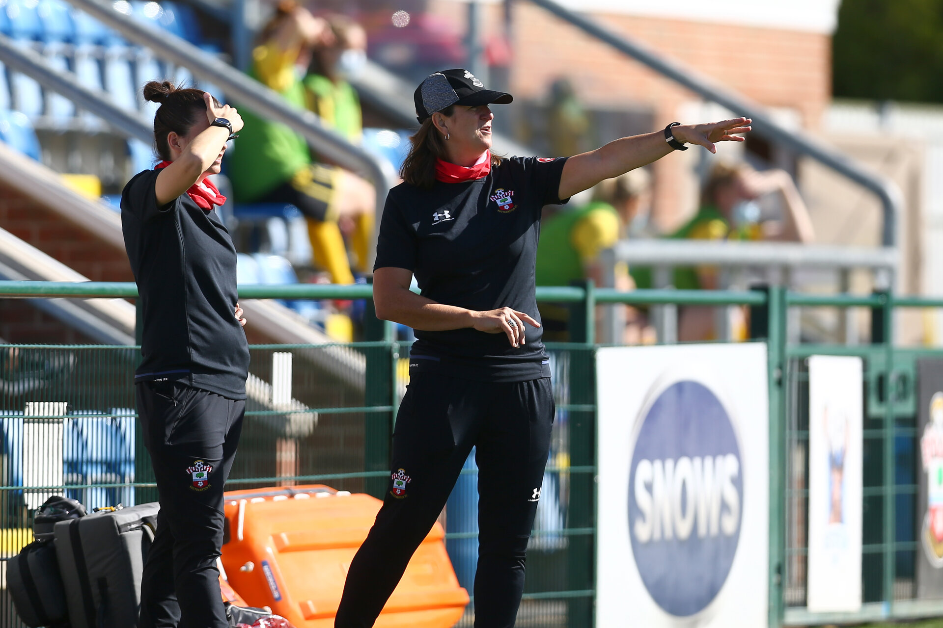 Southampton, ENGLAND - SEPTEMBER 27: Lauren Phillips (L) and Marieanne Spacey-Cale (R) during the FAWNL match between Southampton Women and Buckland Athletic at Snows Stadium on September 27, 2020 in Southampton, United Kingdom (Photo by Isabelle Field/Southampton FC via Getty Images)