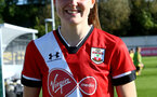 Southampton, ENGLAND - SEPTEMBER 27: Ella Pusey of Southampton recieving the player of the match award after the FAWNL match between Southampton Women and Buckland Athletic at Snows Stadium on September 27, 2020 in Southampton, United Kingdom (Photo by Isabelle Field/Southampton FC via Getty Images)