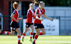 Southampton, ENGLAND - SEPTEMBER 27: Ella Pusey (R) goal celebration during the FAWNL match between Southampton Women and Buckland Athletic at Snows Stadium on September 27, 2020 in Southampton, United Kingdom (Photo by Isabelle Field/Southampton FC via Getty Images)
