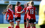 Southampton, ENGLAND - SEPTEMBER 27: Ella Pusey celebrates second goal with team mates during the FAWNL match between Southampton Women and Buckland Athletic at Snows Stadium on September 27, 2020 in Southampton, United Kingdom (Photo by Isabelle Field/Southampton FC via Getty Images)