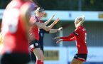 Southampton, ENGLAND - SEPTEMBER 27: Ella Pusey (L) celebrates third goal with Phoebe Williams (R) of Southampton during the FAWNL match between Southampton Women and Buckland Athletic at Snows Stadium on September 27, 2020 in Southampton, United Kingdom (Photo by Isabelle Field/Southampton FC via Getty Images)