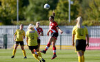 Southampton, ENGLAND - SEPTEMBER 27: Kirsty Whitton (center) of Southampton during the FAWNL match between Southampton Women and Buckland Athletic at Snows Stadium on September 27, 2020 in Southampton, United Kingdom (Photo by Isabelle Field/Southampton FC via Getty Images)