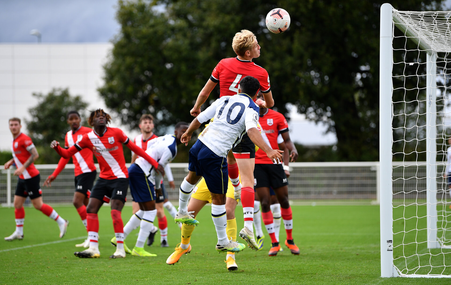 ENFIELD, ENGLAND - OCTOBER 03: Dilan Markanday of Tottenham Hotspur misses a chance during the Premier League 2 game between Tottenham Hotspur and Southampton at Tottenham Hotspur Training Centre on October 03, 2020 in Enfield, England. (Photo by Justin Setterfield/Getty Images)