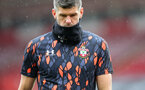 SOUTHAMPTON, ENGLAND - OCTOBER 04: Fraser Forster during the Premier League match between Southampton and West Bromwich Albion at St Mary's Stadium on October 4, 2020 in Southampton, United Kingdom. Sporting stadiums around the UK remain under strict restrictions due to the Coronavirus Pandemic as Government social distancing laws prohibit fans inside venues resulting in games being played behind closed doors. (Photo by Chris Moorhouse/Southampton FC via Getty Images)