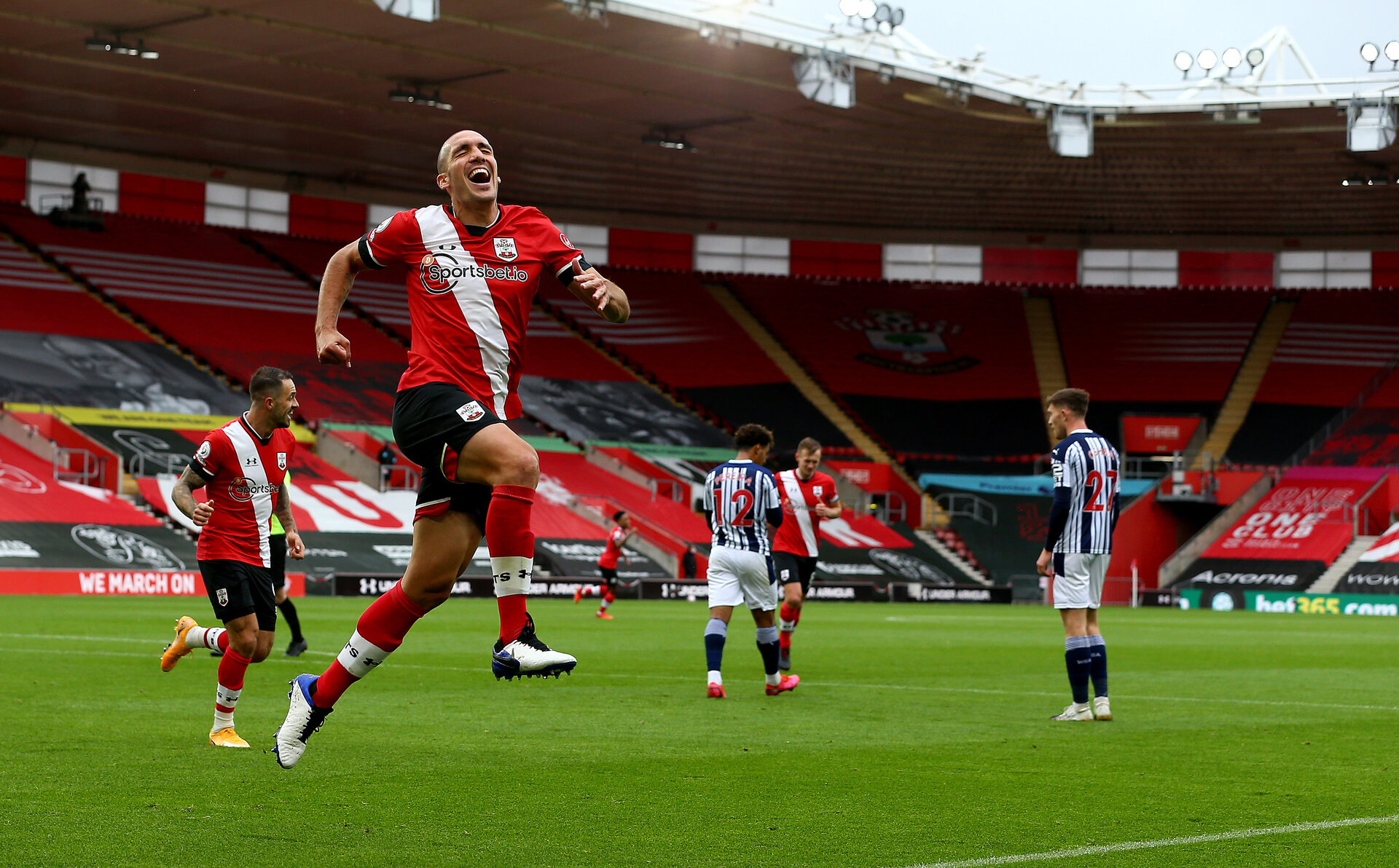 SOUTHAMPTON, ENGLAND - OCTOBER 04: Oriol Romeu of Southampton celebrates after scoring during the Premier League match between Southampton and West Bromwich Albion at St Mary's Stadium on October 04, 2020 in Southampton, United Kingdom. Sporting stadiums around the UK remain under strict restrictions due to the Coronavirus Pandemic as Government social distancing laws prohibit fans inside venues resulting in games being played behind closed doors. (Photo by Matt Watson/Southampton FC via Getty Images)