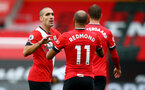 SOUTHAMPTON, ENGLAND - OCTOBER 04: Oriol Romeu celebrates his goal with his team mates during the Premier League match between Southampton and West Bromwich Albion at St Mary's Stadium on October 04, 2020 in Southampton, United Kingdom. Sporting stadiums around the UK remain under strict restrictions due to the Coronavirus Pandemic as Government social distancing laws prohibit fans inside venues resulting in games being played behind closed doors. (Photo by Matt Watson/Southampton FC via Getty Images)