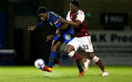 NORTHAMPTON, ENGLAND - OCTOBER 06: David Agbontohoma  (L) of Southampton and Benny Ashley-Seal (R) of Northampton during EFL Cup match between Northampton Town FC and Southampton FC B Team at the PTS Academy Stadium on October 6, 2020 in Northampton, England. (Photo by Isabelle Field/Southampton FC via Getty Images)