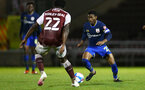 NORTHAMPTON, ENGLAND - OCTOBER 06: Nathan Tella (R) of Southampton during EFL Cup match between Northampton Town FC and Southampton FC B Team at the PTS Academy Stadium on October 6, 2020 in Northampton, England. (Photo by Isabelle Field/Southampton FC via Getty Images)